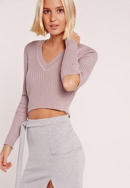 V Neck Elbow Slash Jumper Pink