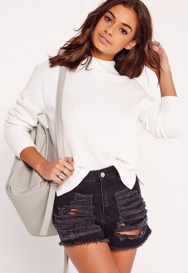 Funnel Neck Knit Top White