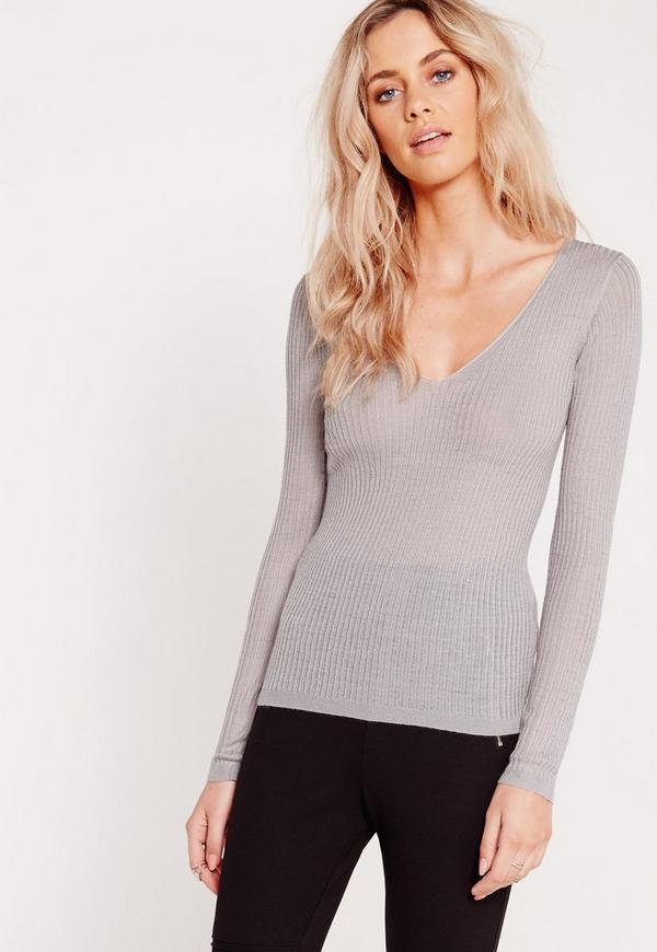 Long Sleeve Plunge Jumper Grey