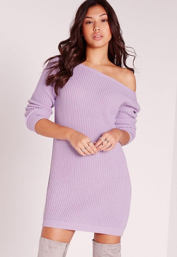 Off Shoulder Slash Neck Jumper Dress Lilac