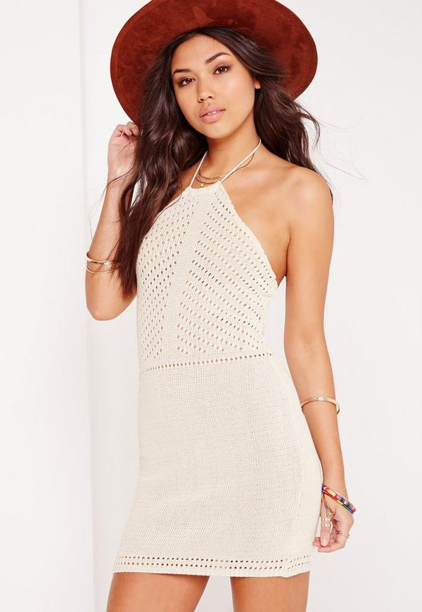 Pointelle Halter Mini Dress Cream