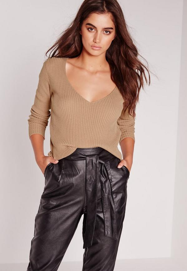 Basic V-Neck Ribbed Jumper Camel