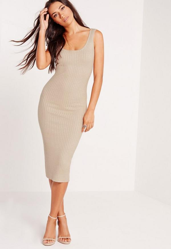 Nude Ribbed Cami Midi Knitted Dress