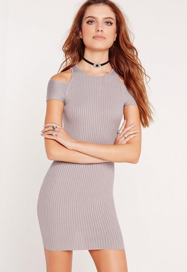Grey Ribbed Cold Shoulder Knitted Mini Dress