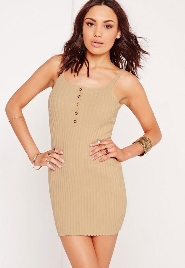 Button Basic Ribbed Knitted Mini Dress Nude