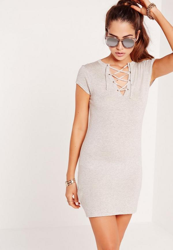 Lace Up Mini Dress Grey