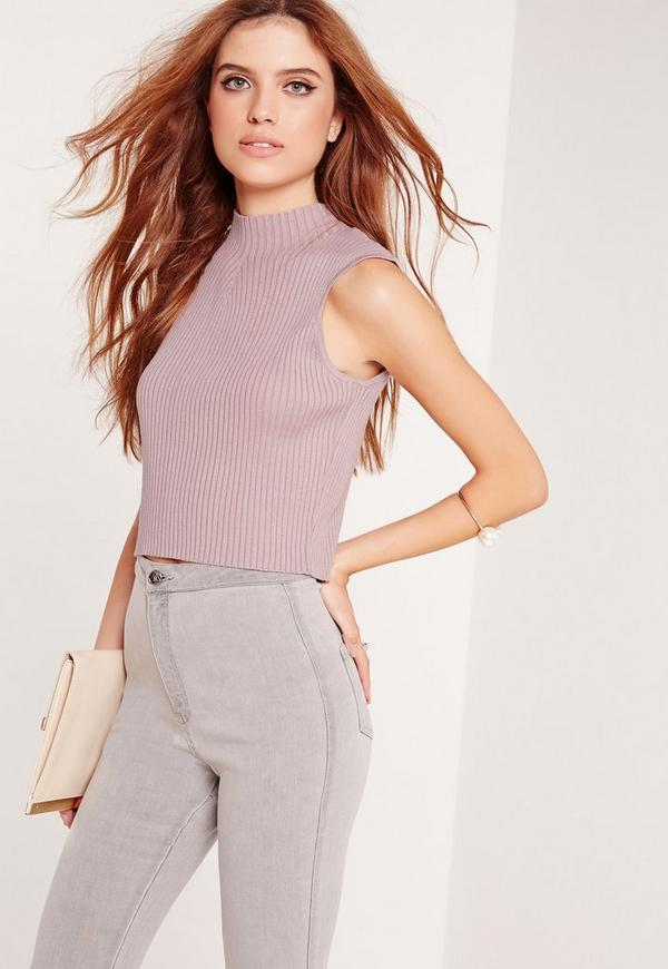 Knitted Sleeveless Cropped Vest Purple
