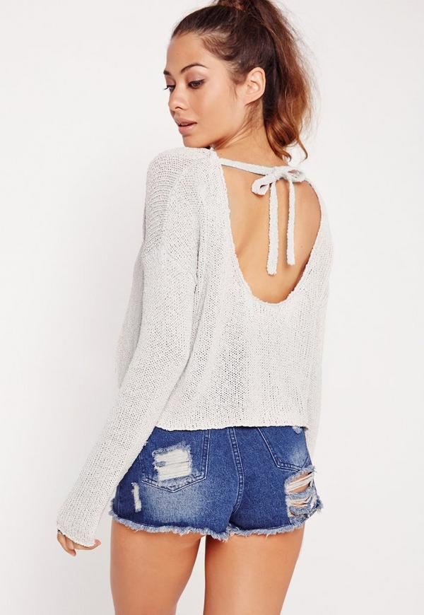Scoop Back Cropped Jumper Grey