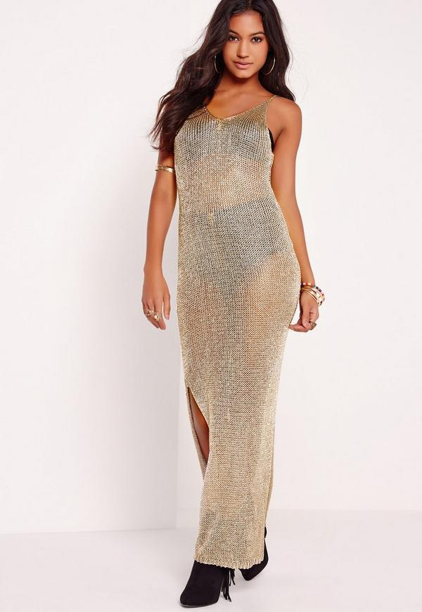 Metallic Long Maxi Dress Gold