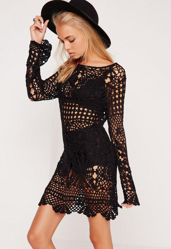Crochet Shift Dress Black Missguided