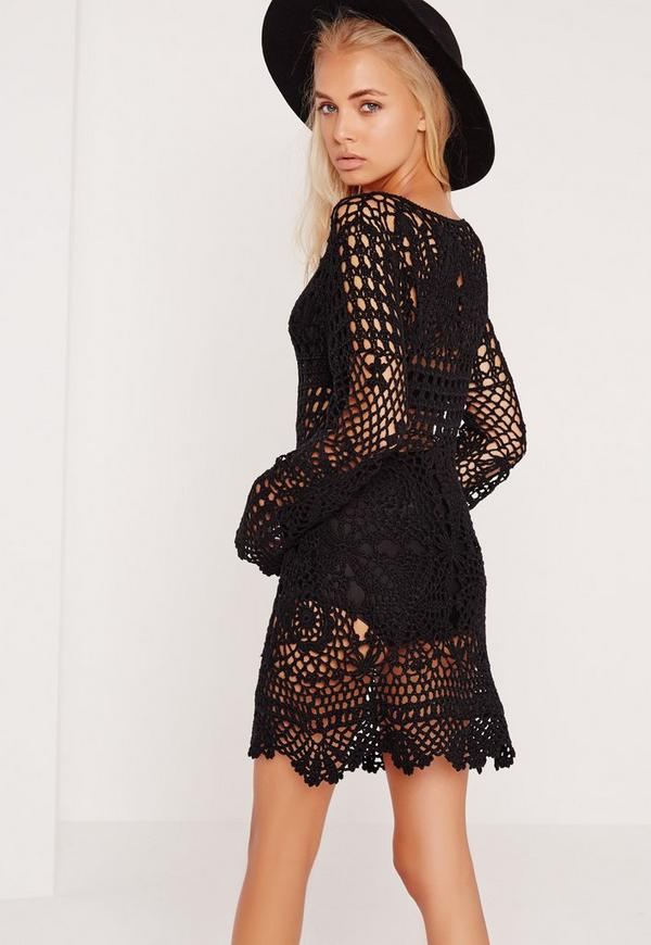 Crochet Shift Dress Black - Missguided
