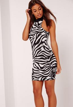 Double Jacquard Animal Bodycon Mini Dress