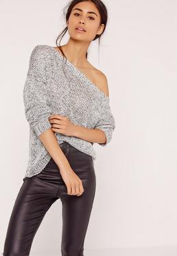 Zip Back Slouchy Off Shoulder Jumper Grey