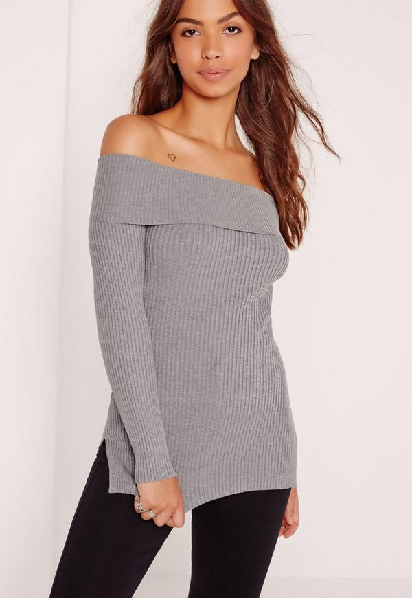 Bardot Side Split Jumper Grey
