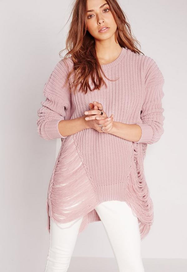 Longline Laddered Jumper Pink