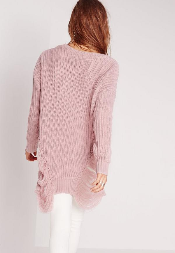 Pink Longline Laddered Sweater Missguided