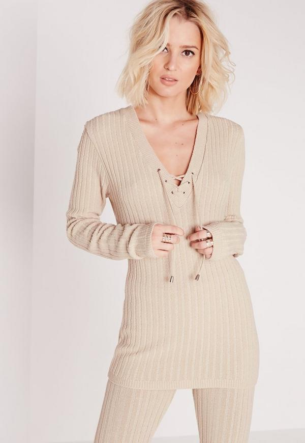 Lace Up Co-Ord Jumper Nude