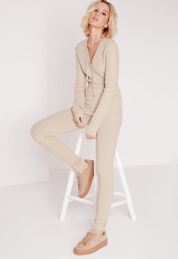 Co-Ord Knitted Leggings Nude