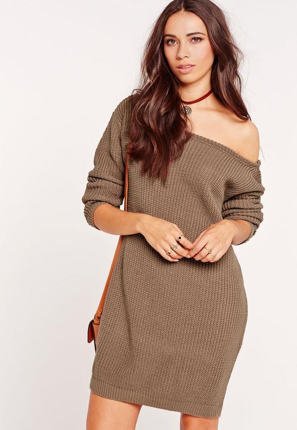 Off Shoulder Knitted Jumper Dress Taupe