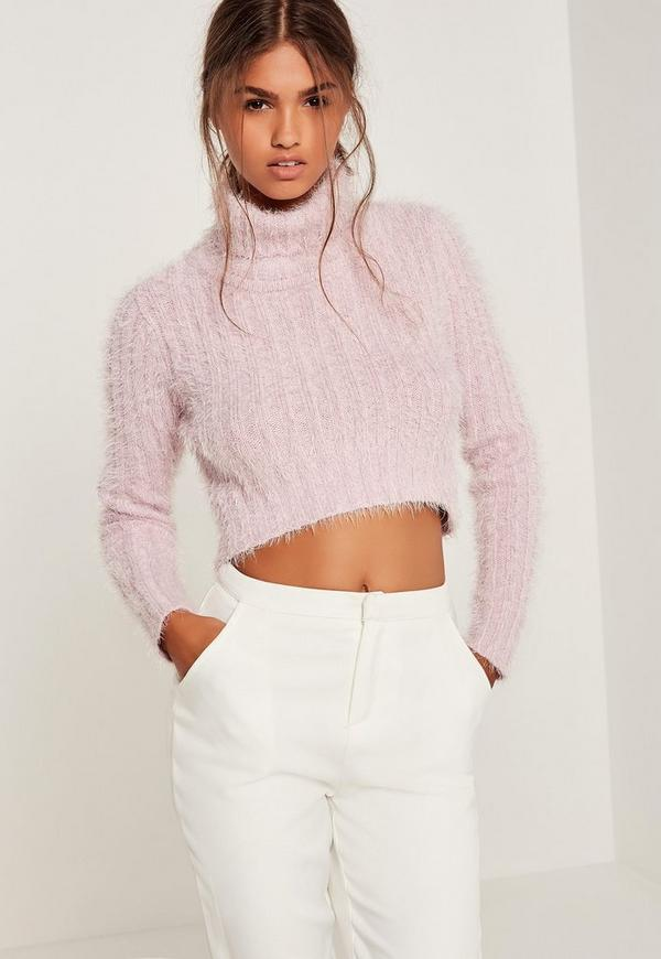 Fluffy Roll Neck Cropped Jumper Pink