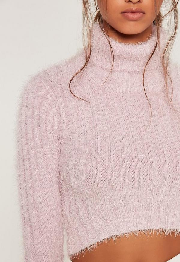 Pink Fluffy Roll Neck Cropped Sweater | Missguided