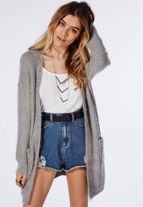 Ceris Knitted Fluffy Cardigan Grey