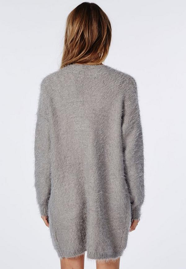 Ceris Knitted Fluffy Cardigan Grey | Missguided