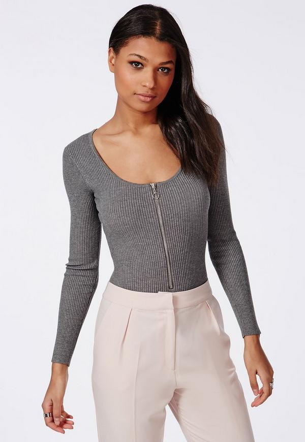 Ribbed Knitted Zip Bodysuit Grey
