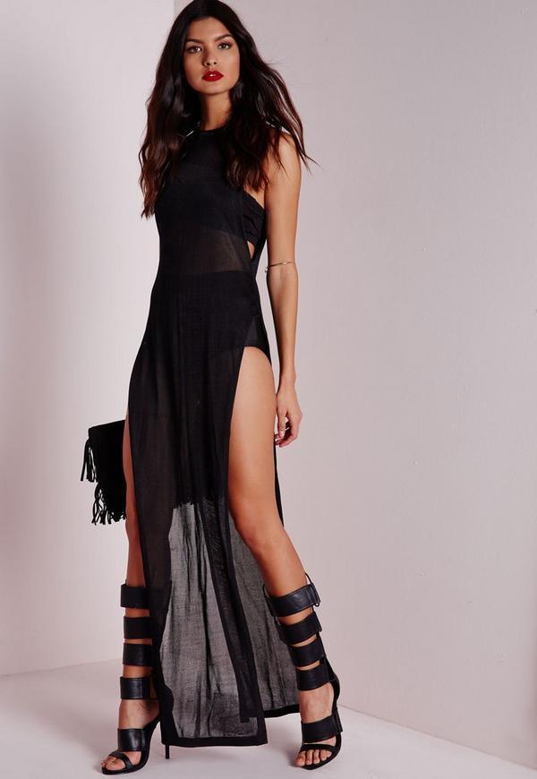 Slinky Extreme Side Split Knitted Dress Black