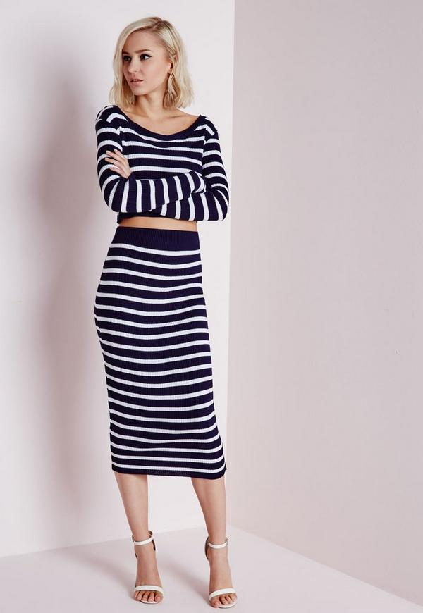 Striped Ribbed Knitted Midi Skirt Navy