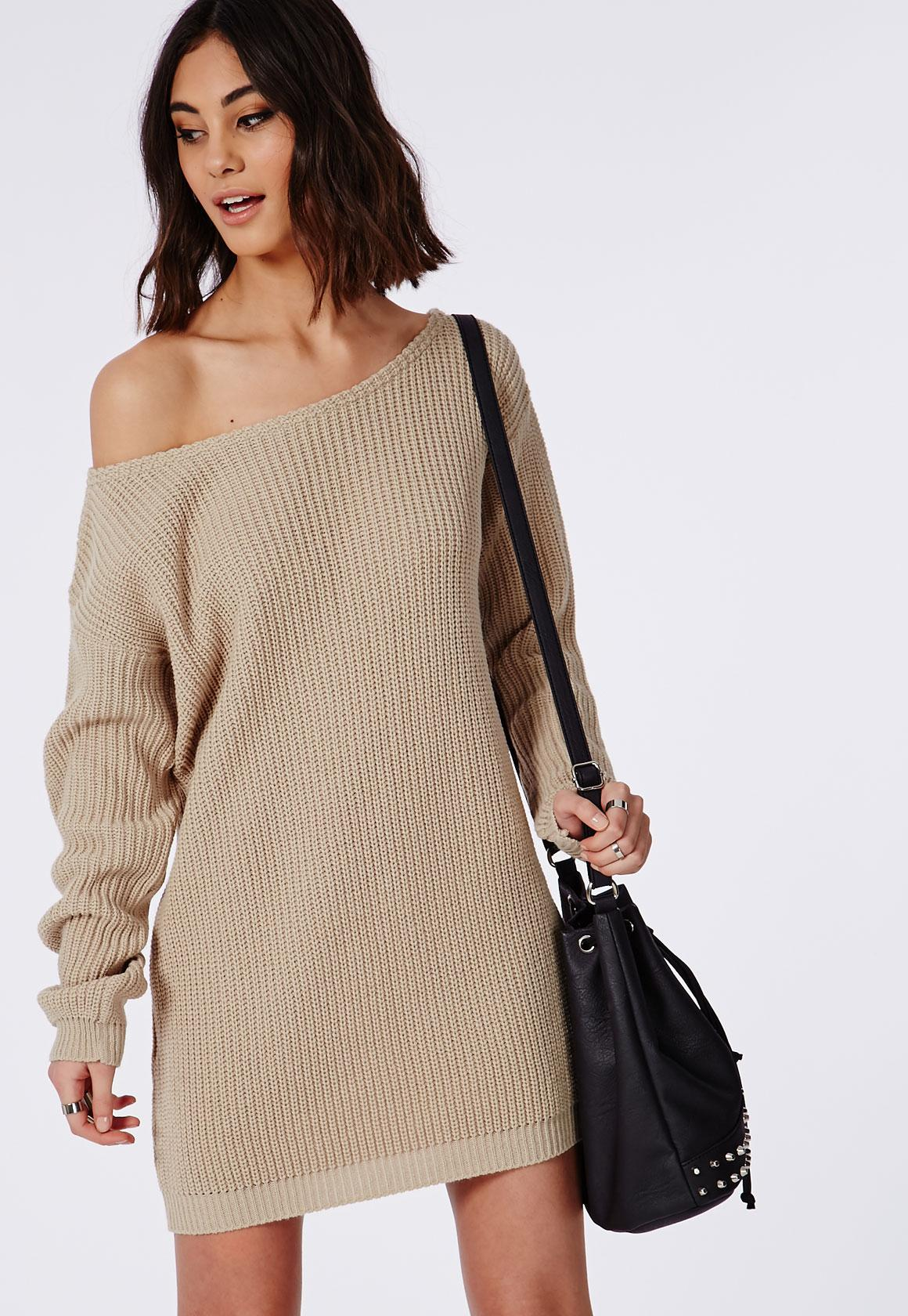 Knitting Pattern Jumper Dress : Off Shoulder Knitted Jumper Dress Camel Missguided