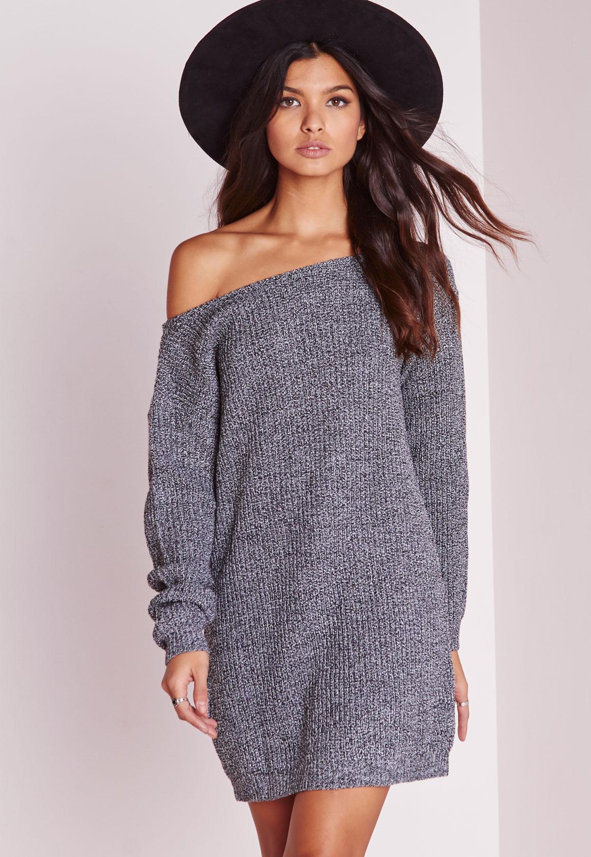 Knitting Pattern For Jumper Dress : Off Shoulder Knitted Jumper Dress Grey Marl Missguided