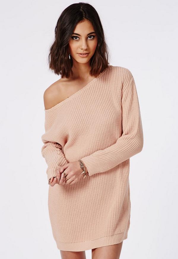Off Shoulder Knitted Jumper Dress Nude