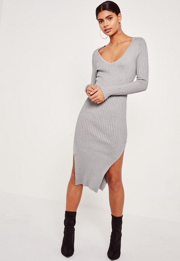Grey V Neck Side Split Midi Jumper Dress