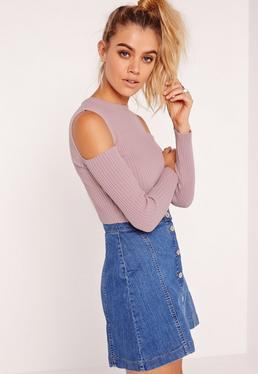Cold Shoulder Knitted Ribbed Jumper Lilac