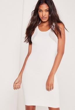 White Mesh Panel Ribbed Knitted Racer Dress