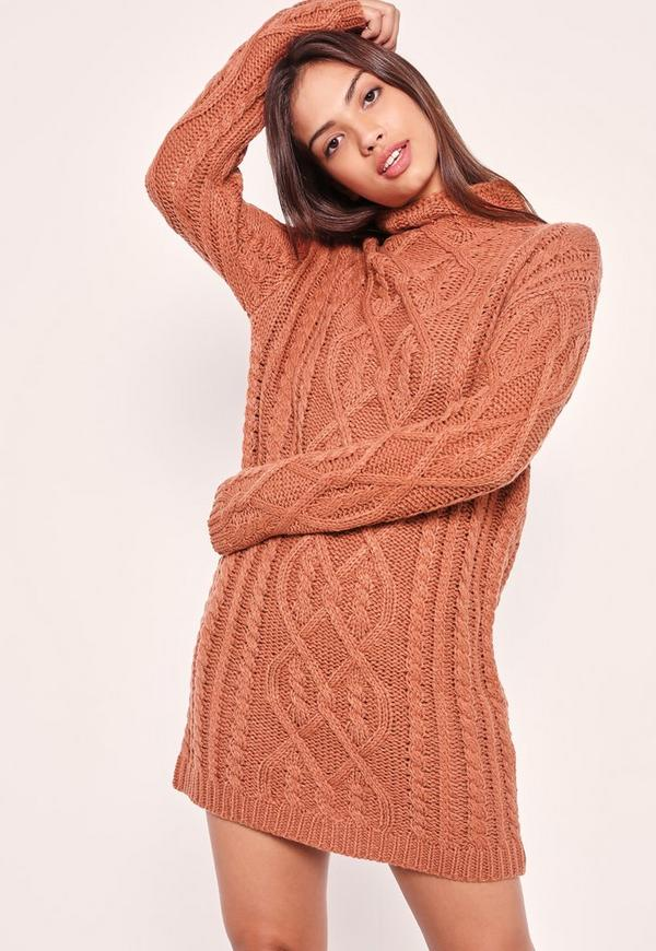 Chunky Oversized Cable Jumper Dress Pink