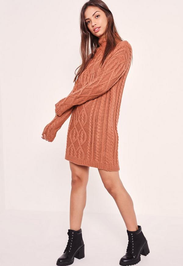 Chunky Oversized Cable Sweater Dress Pink | Missguided
