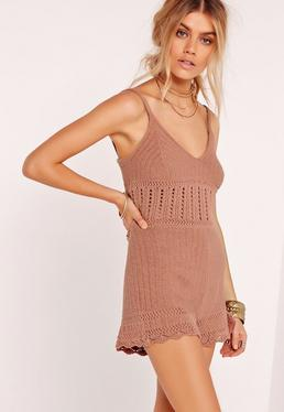 Crochet Playsuit Brown