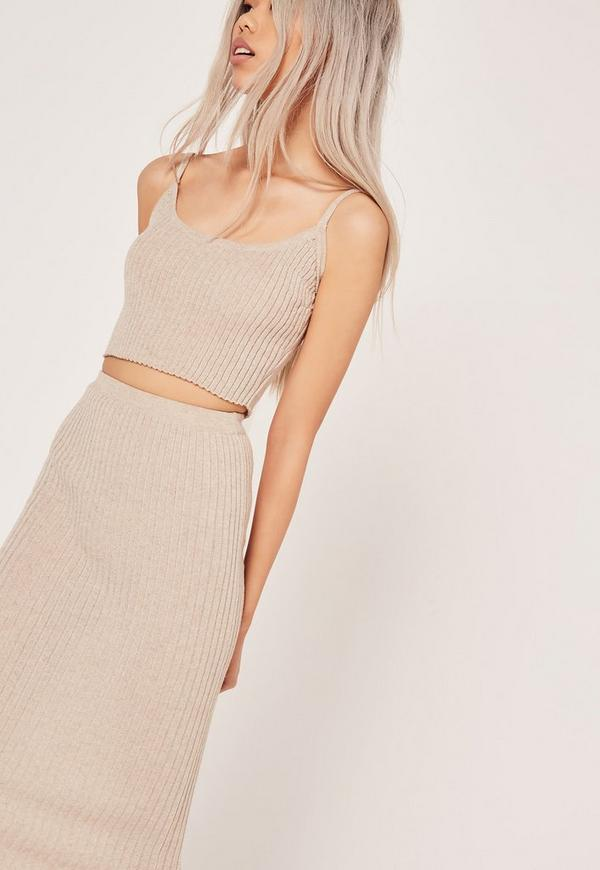 Strappy Rib Crop Top Co-ord Nude