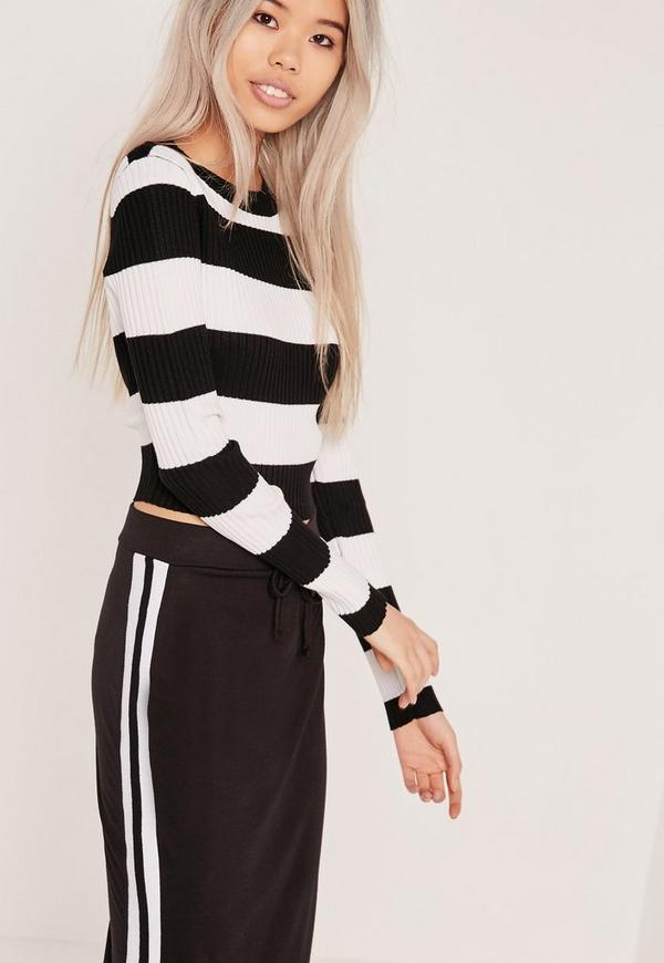 Stripe Rib Crop T Shirt Jumper Monochrome