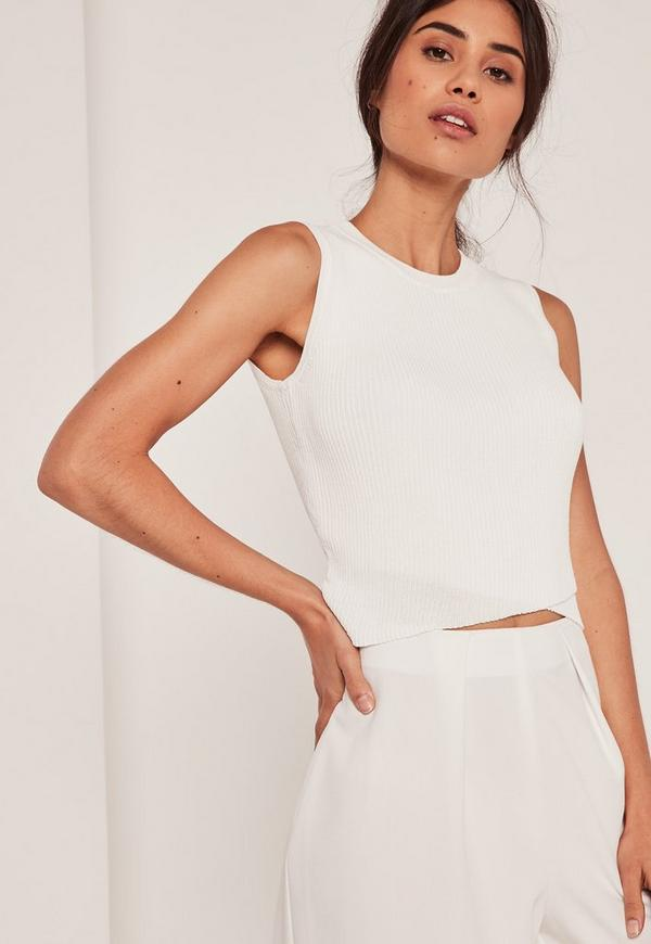Wrap Front Sleeveless Crop Top White