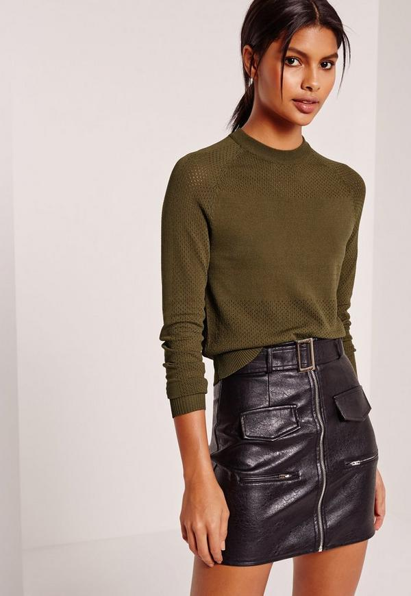 Perforated Detail Crew Neck Jumper Khaki