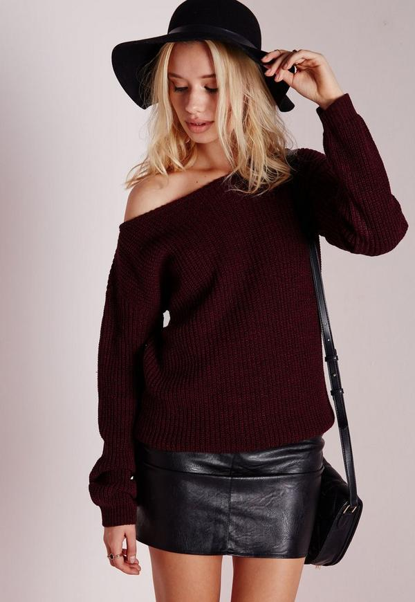 Ophelita Off Shoulder Knitted Jumper Wine