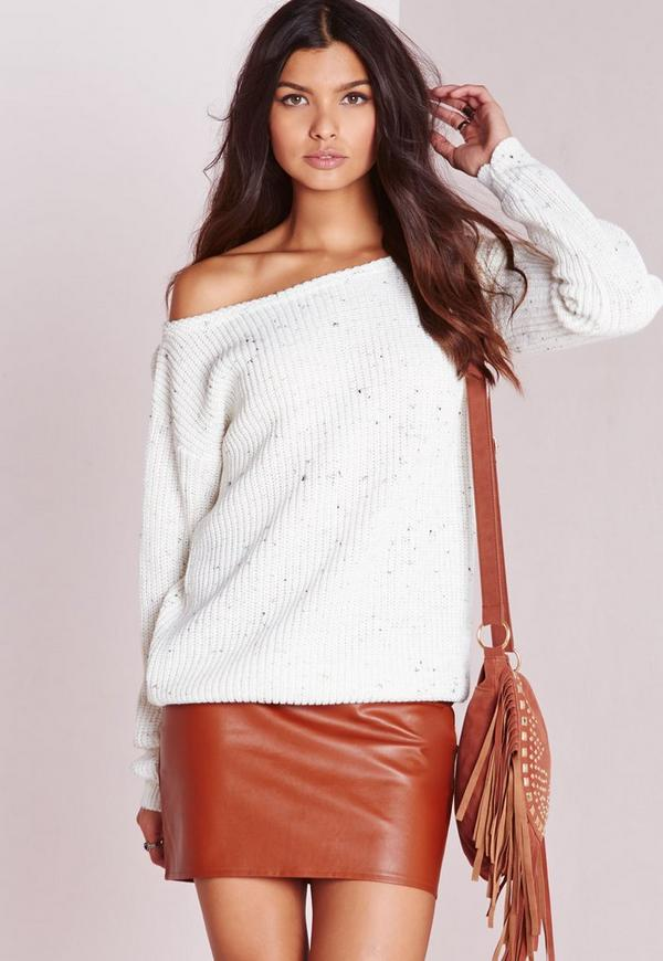 Ophelita Off Shoulder Jumper Cream Nep