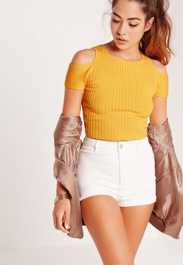 Cold Shoulder Cropped Jumper Yellow