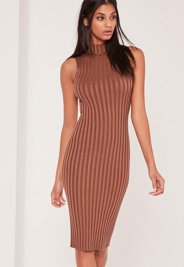 Extreme Ribbed Knitted Midi Dress Pink