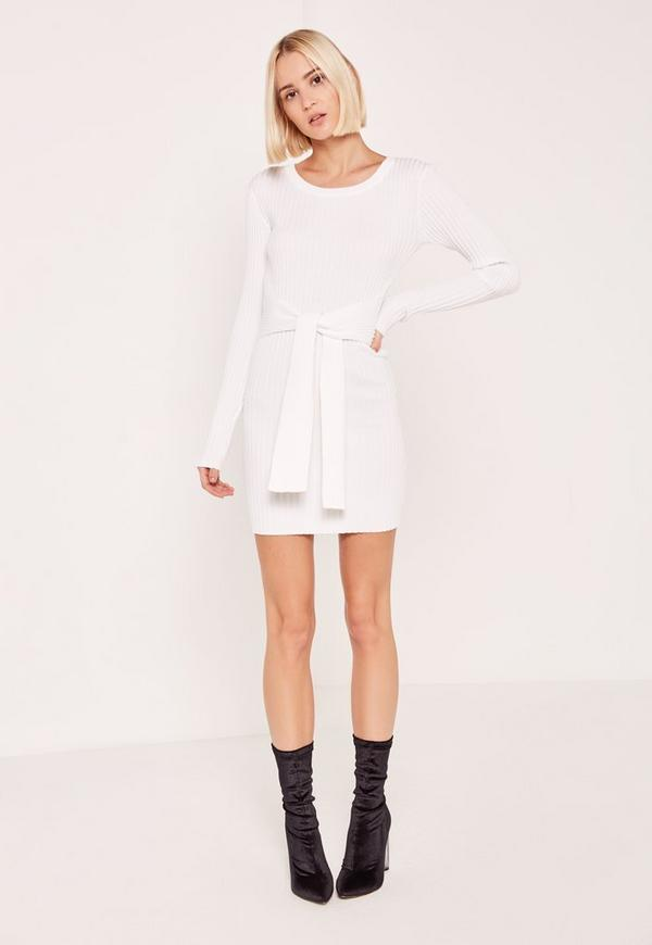 Cream Long Sleeve Tie Waist Ribbed Sweater Dress | Missguided
