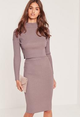 Knitted Midi Skirt Lilac