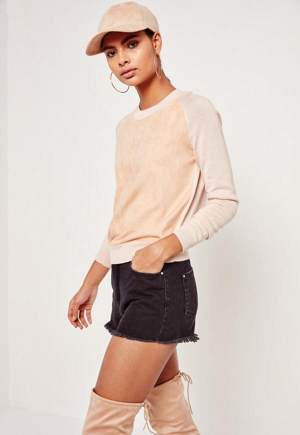 Faux Suede Panel Jumper Nude